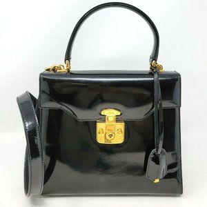 Auth Vintage Gucci Lady Lock Patent Leather Bag